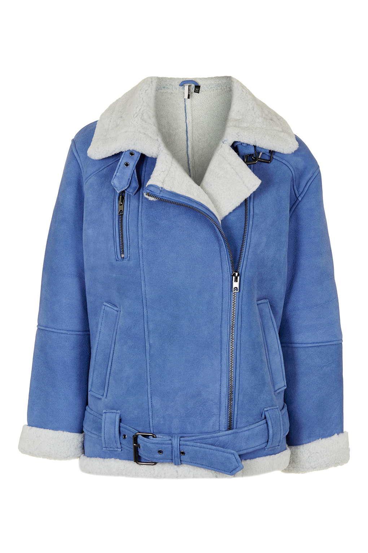 Blue Sheepskin Coat | Down Coat