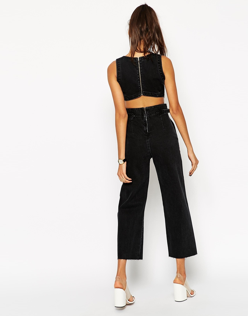 f0ccf63c1e4 Lyst - Asos Denim Wide Leg Cut Out Jumpsuit In Washed .