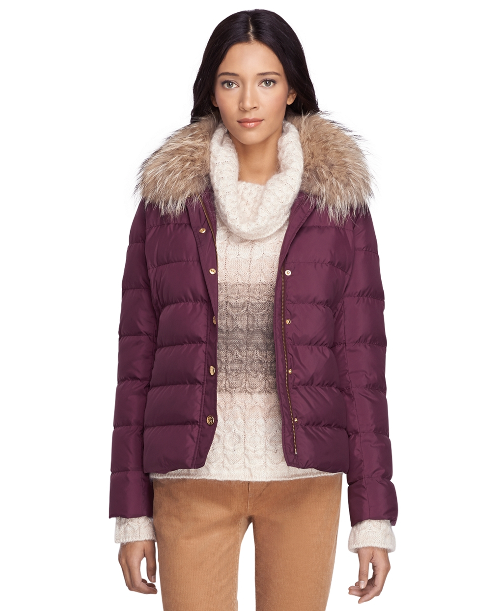 Brooks brothers Short Puffer Jacket in Purple | Lyst