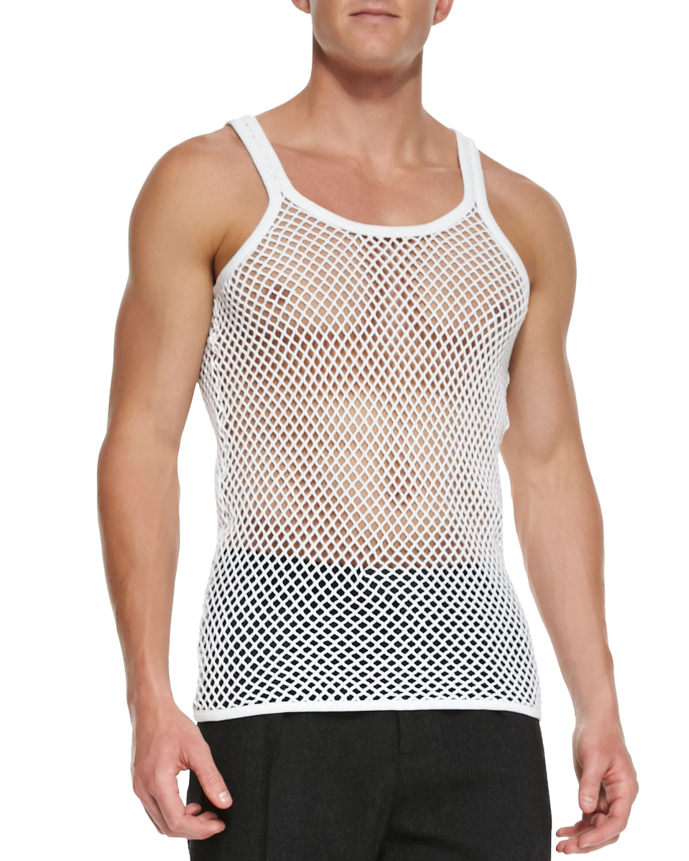 0ccf112906bdd4 Lyst - Burberry Prorsum Cotton-jersey Mesh Tank Top in Gray for Men