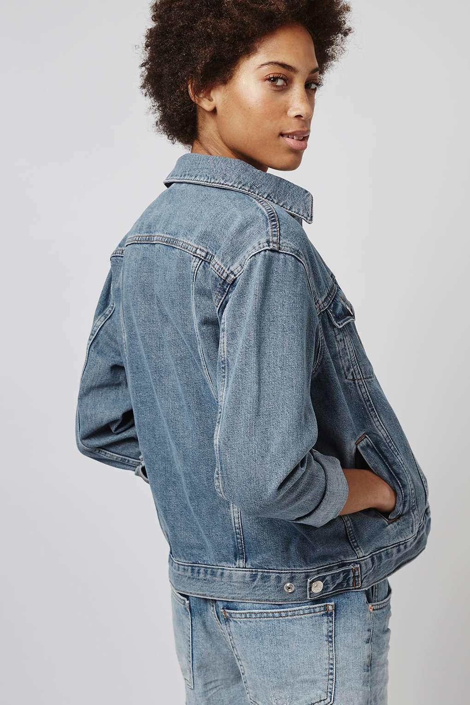 Topshop Petite Oversized Denim Jacket in Blue | Lyst