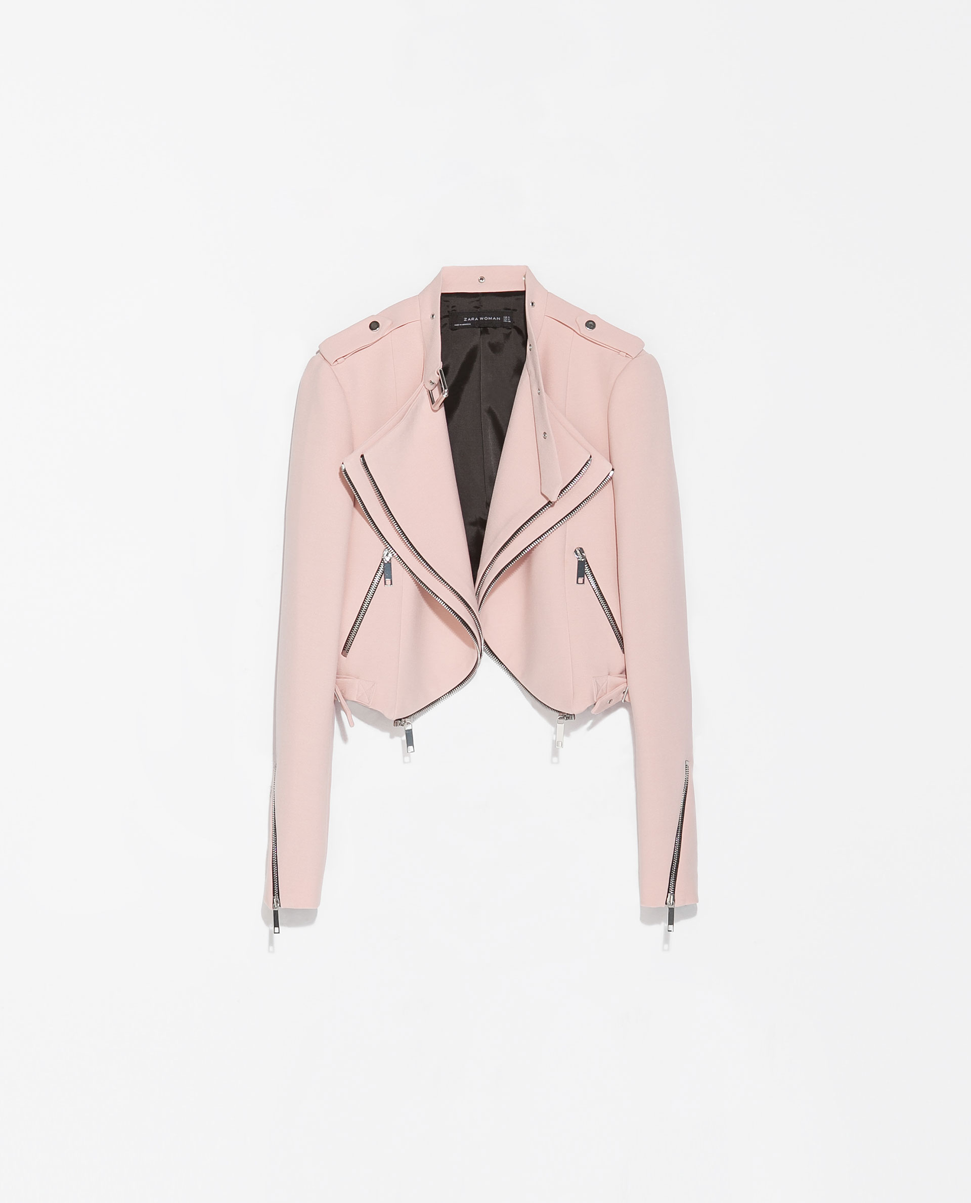 ec4027046ea601 ... Zara Cropped Jacket with Zips in Pink Lyst discount sale 63e27 ca763 ...