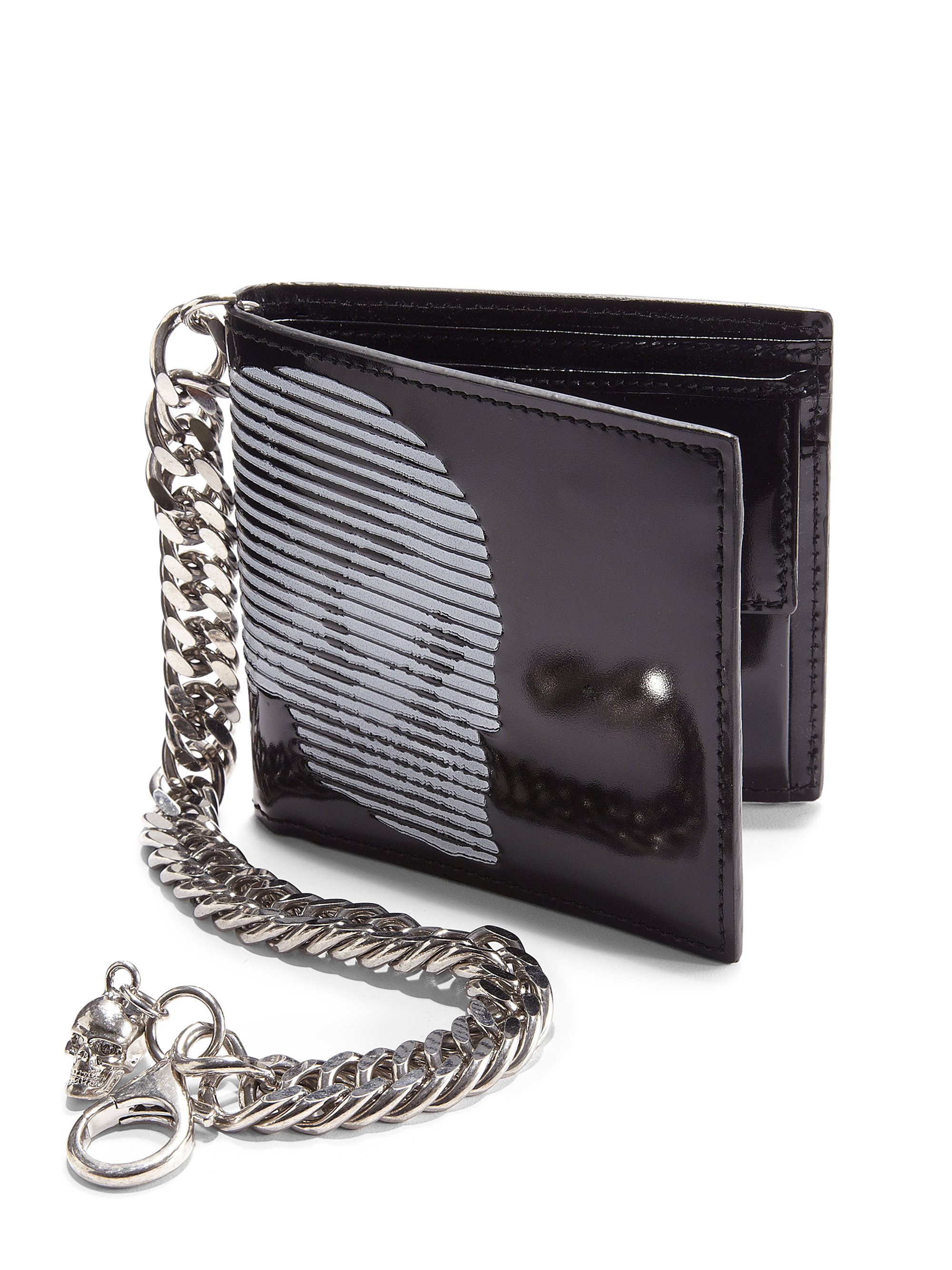 Alexander Mcqueen Printed Leather Chain Wallet In Black