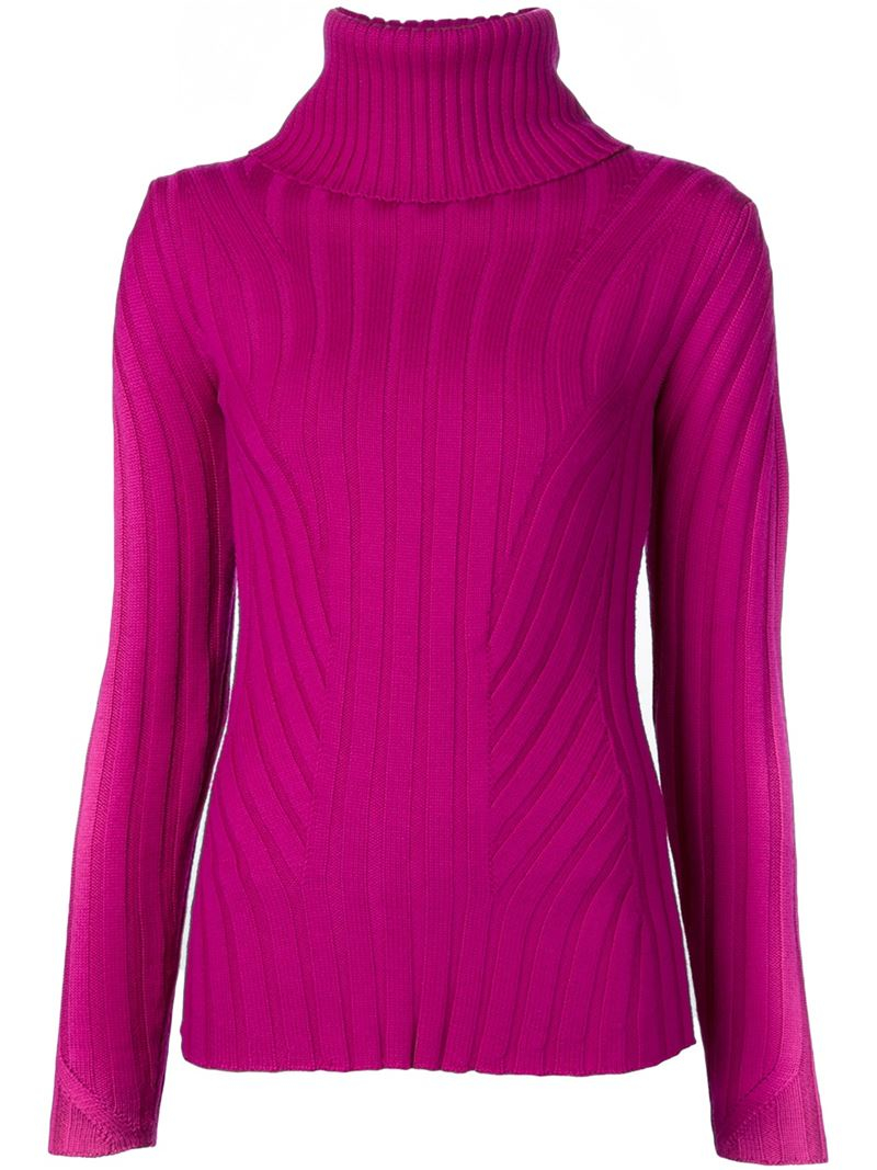 Barbara bui Ribbed Turtleneck Sweater in Pink | Lyst