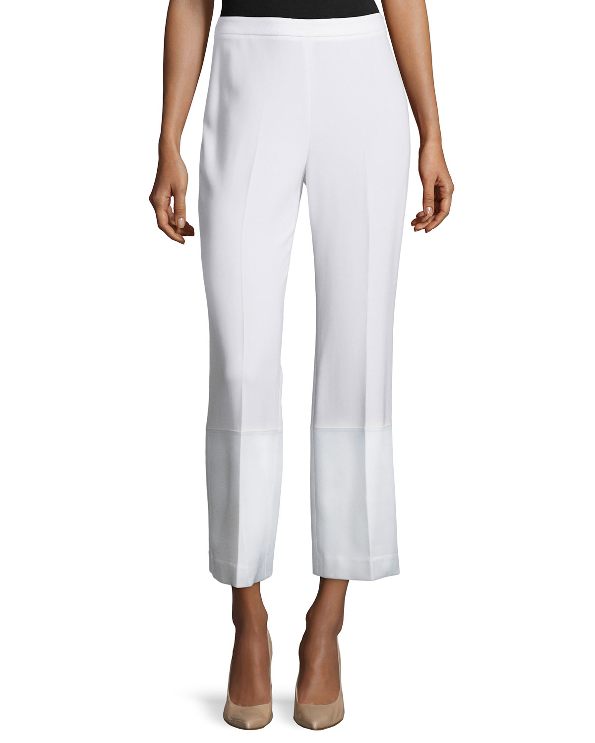 Theory laleenka straight leg crepe culottes in white lyst