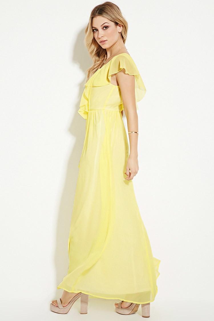 44e75770aa6b Forever 21 Ruffled Chiffon Maxi Dress in Yellow - Lyst