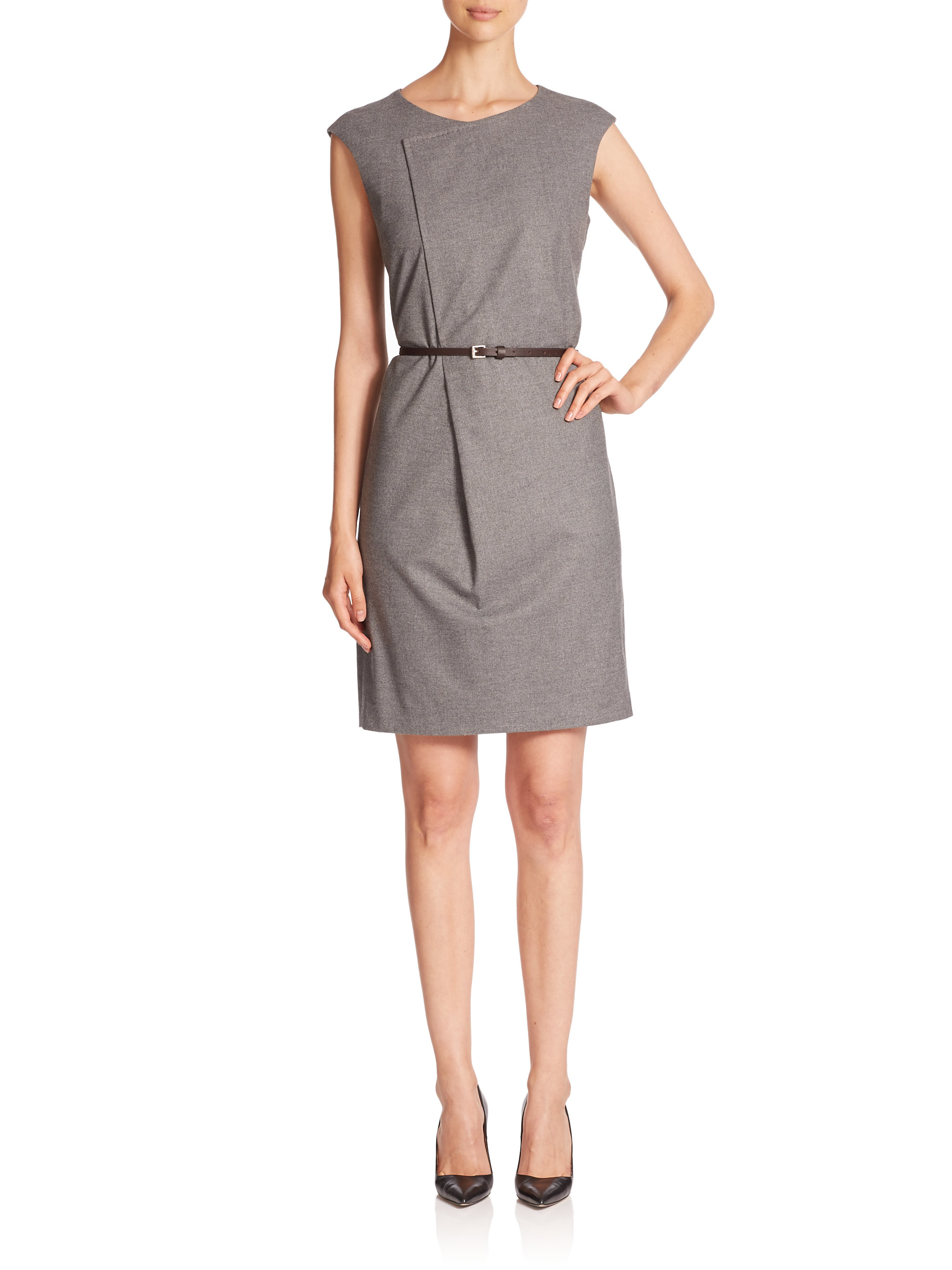 peserico asymmetrical belted dress in gray lyst