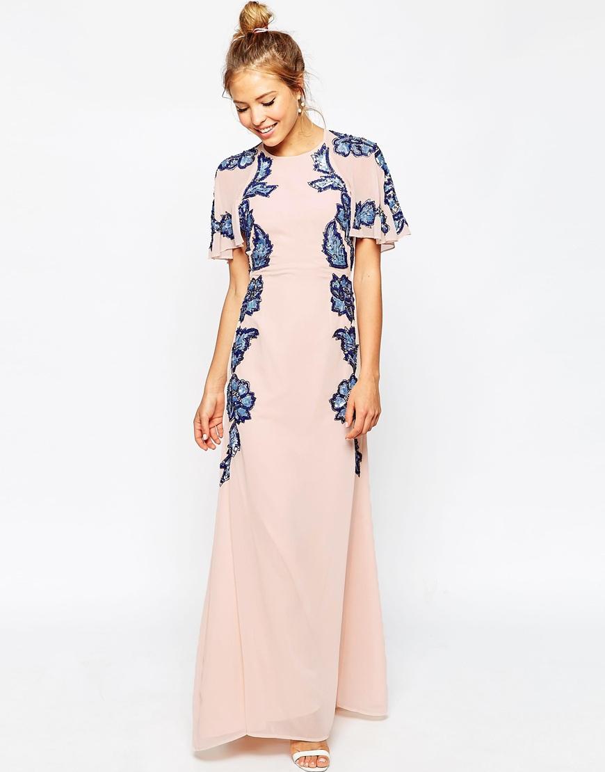 d0c72671fbe ASOS Floral Embellished Flutter Sleeve Maxi Dress in Pink - Lyst