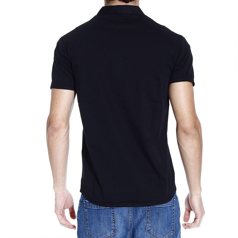 Emporio Armani T Shirt Polo Piquet Floral Logo In Black