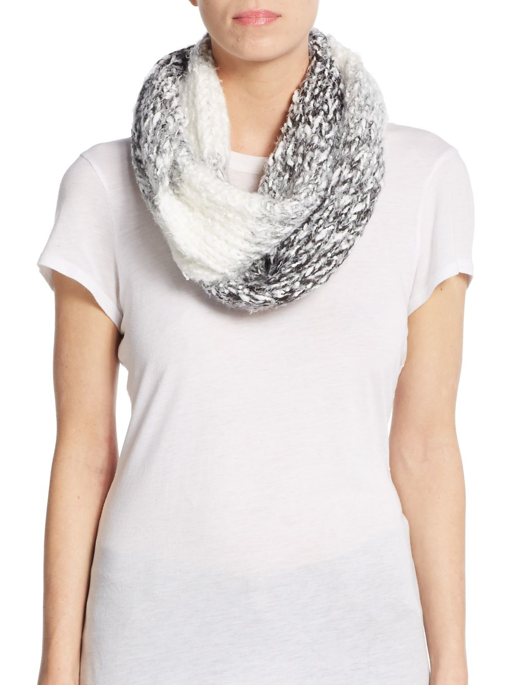 saks fifth avenue soft ombre infinity scarf in black lyst