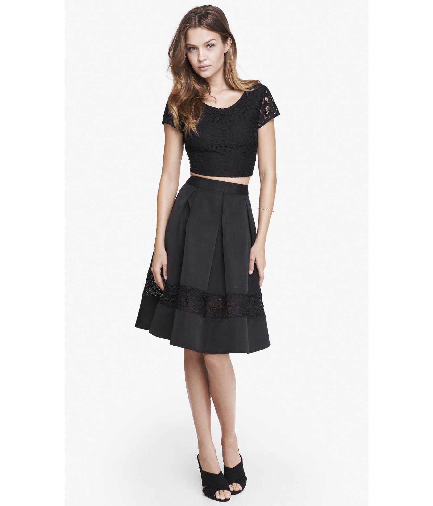 Express Lace Inset High Waist Full Midi Skirt in Black | Lyst