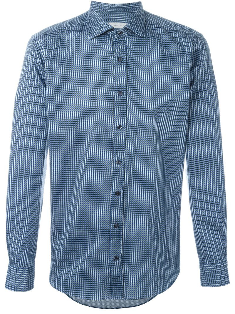 Etro patterned shirt in blue for men save 31 lyst for Etro men s shirts