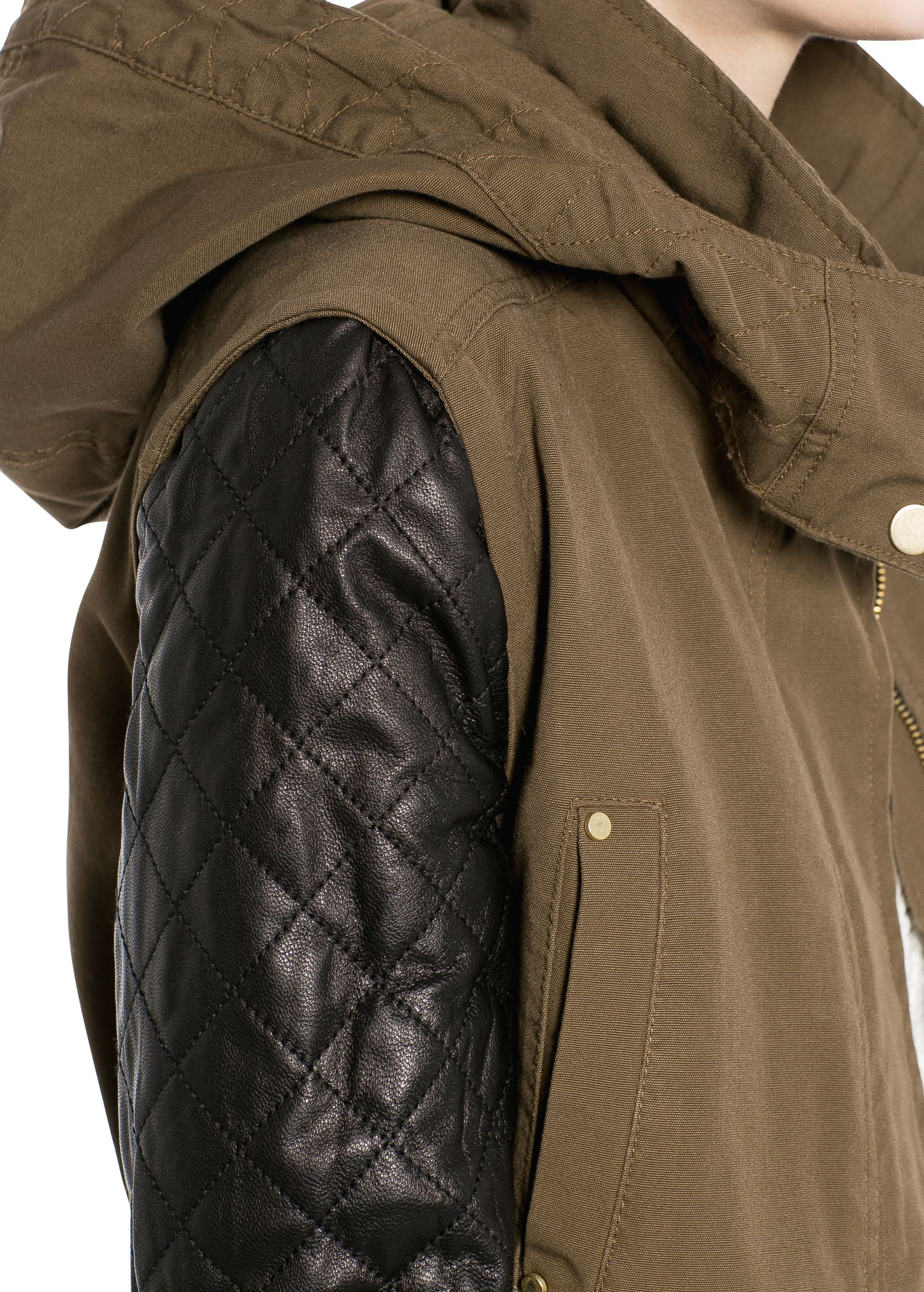 Mango Leather Sleeve Parka in Green | Lyst