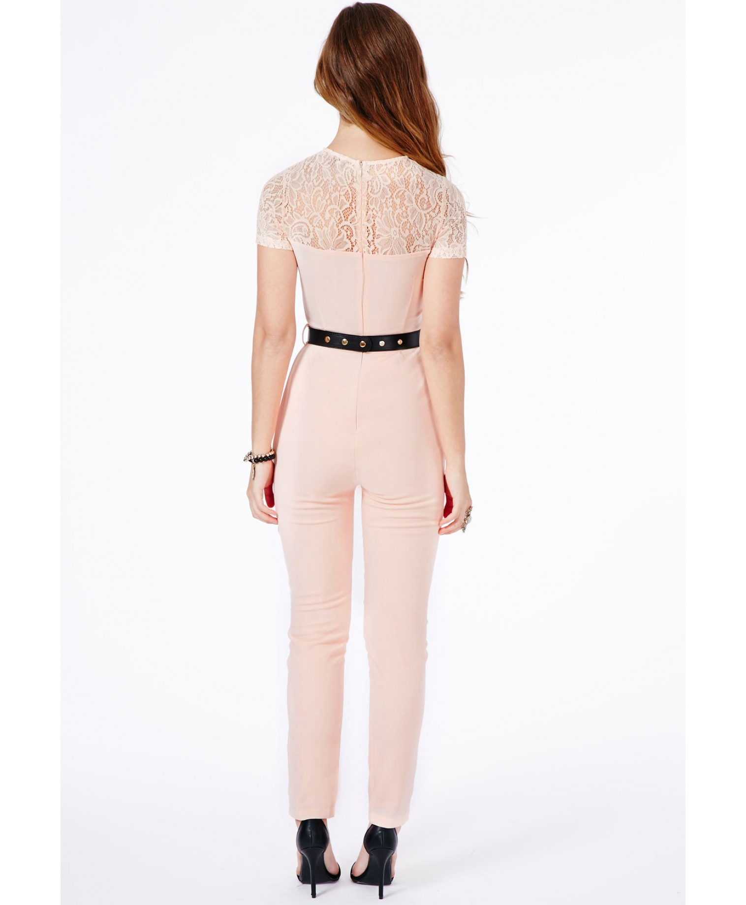 Missguided Roksana Belted Lace Detail Jumpsuit In Blush in Pink | Lyst