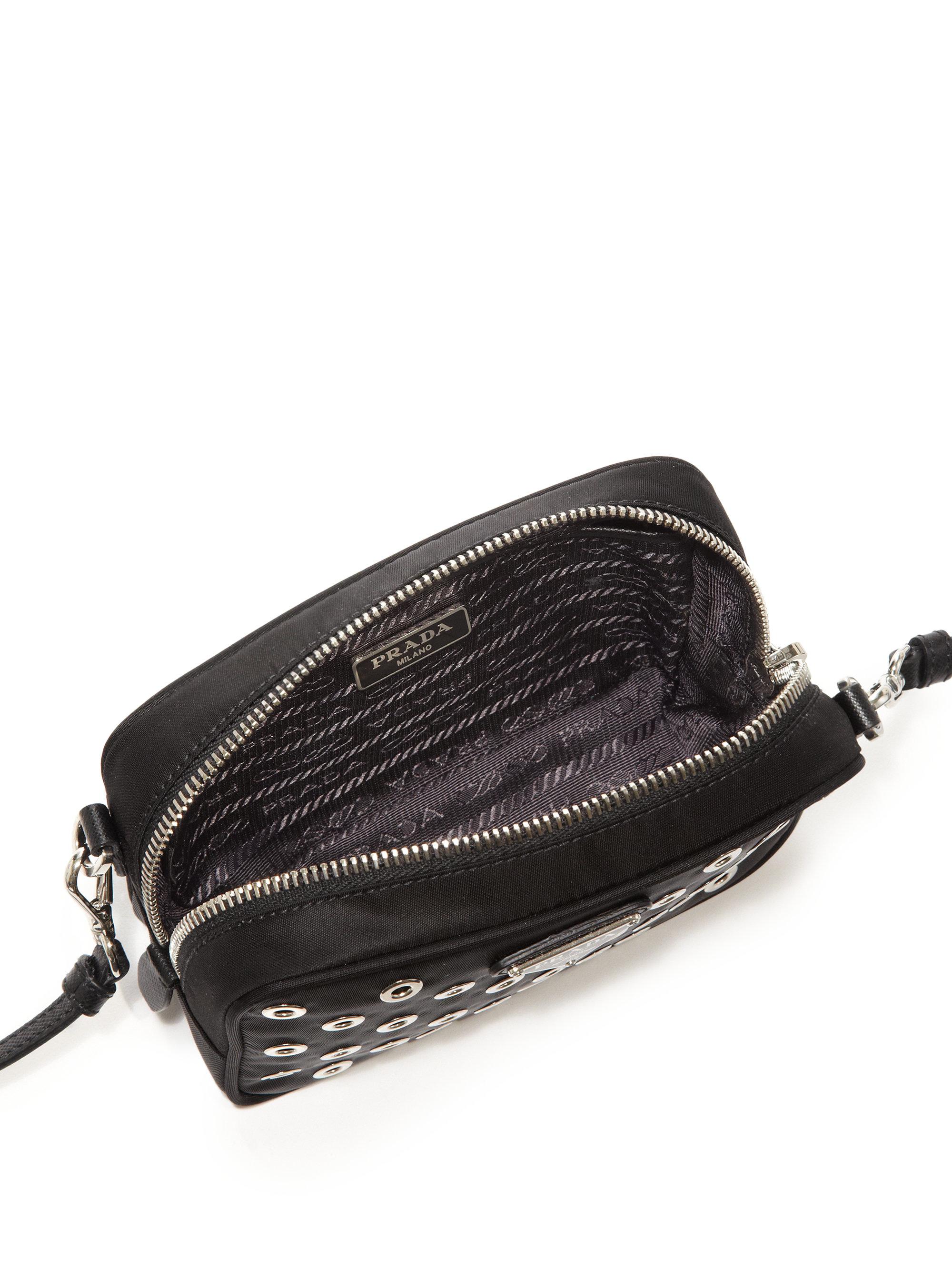 Prada Grommeted Nylon Camera Bag in Black | Lyst