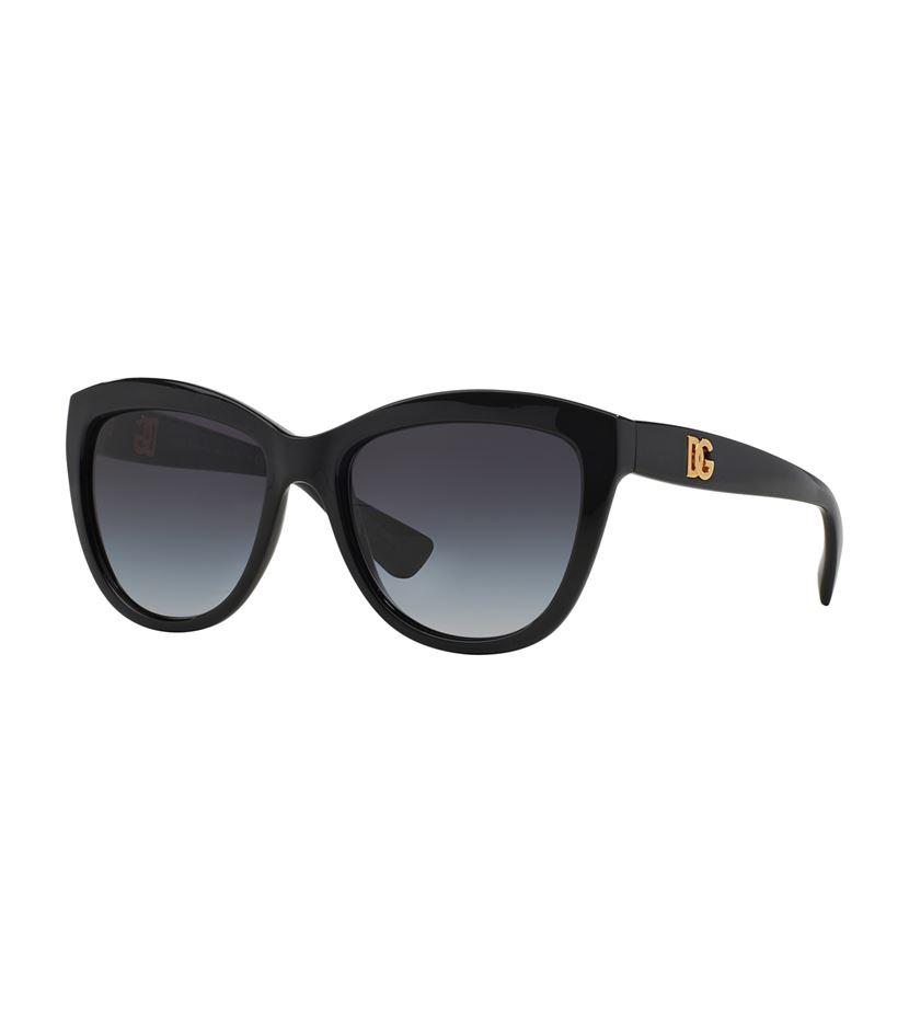 Dolce & gabbana Linked Logo Cat Eye Sunglasses in Black