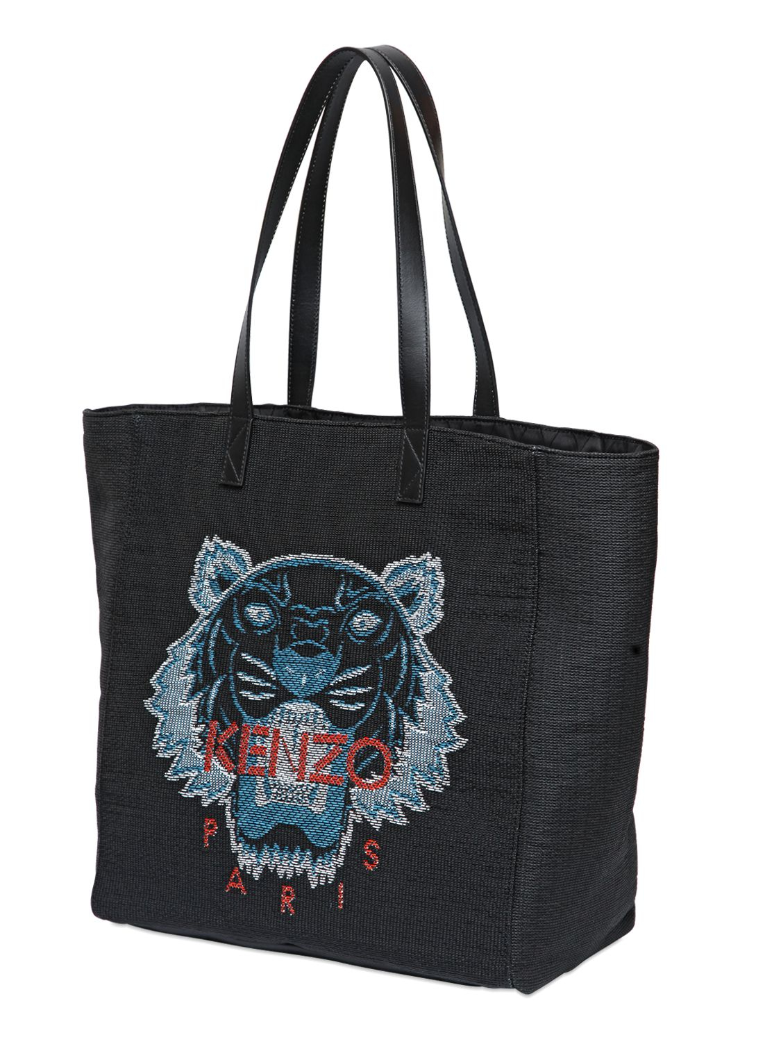 Kenzo Tiger Woven Straw Amp Leather Tote Bag In Black Lyst