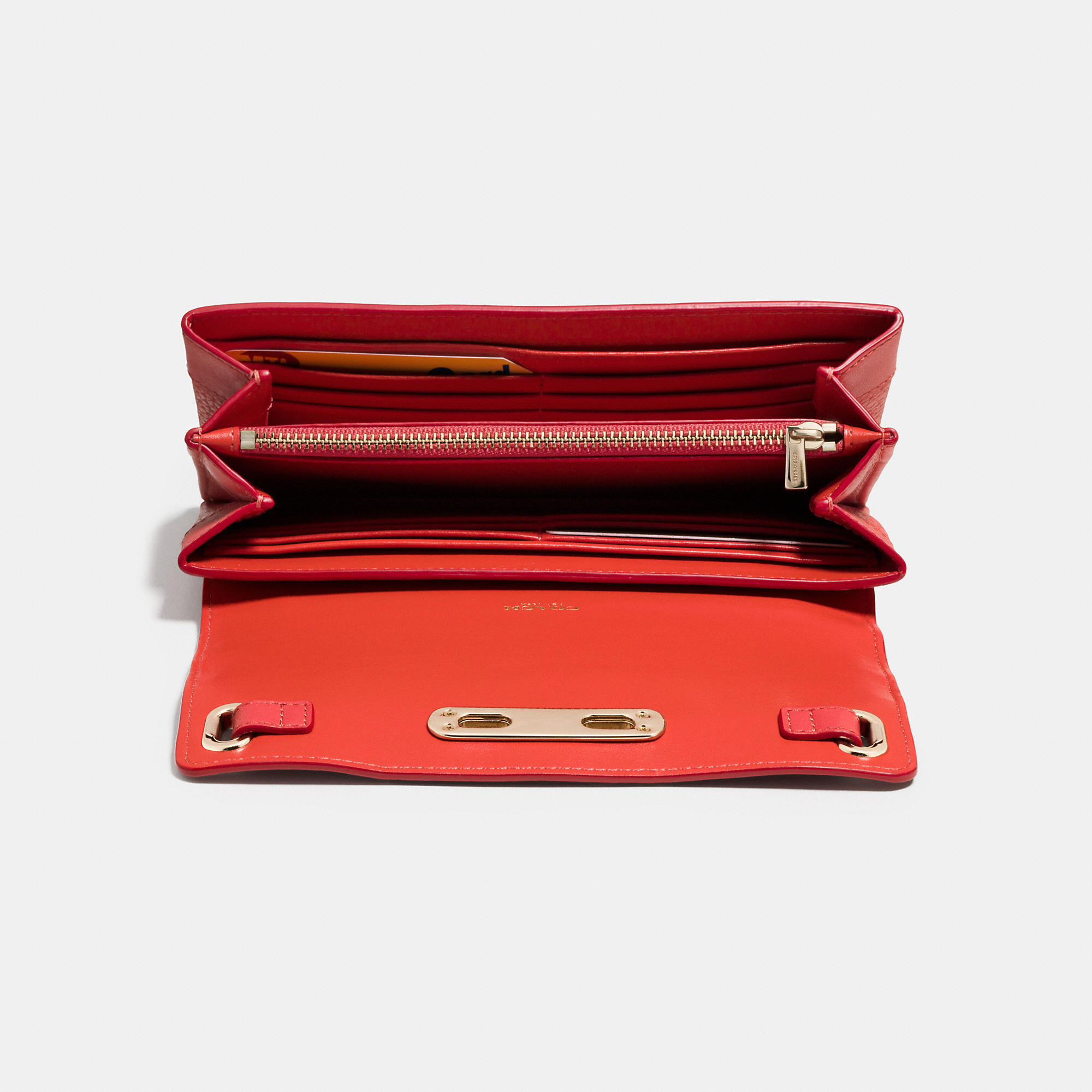 ee2f09b3ce76 Lyst - COACH Swagger Wallet In Pebble Leather in Red