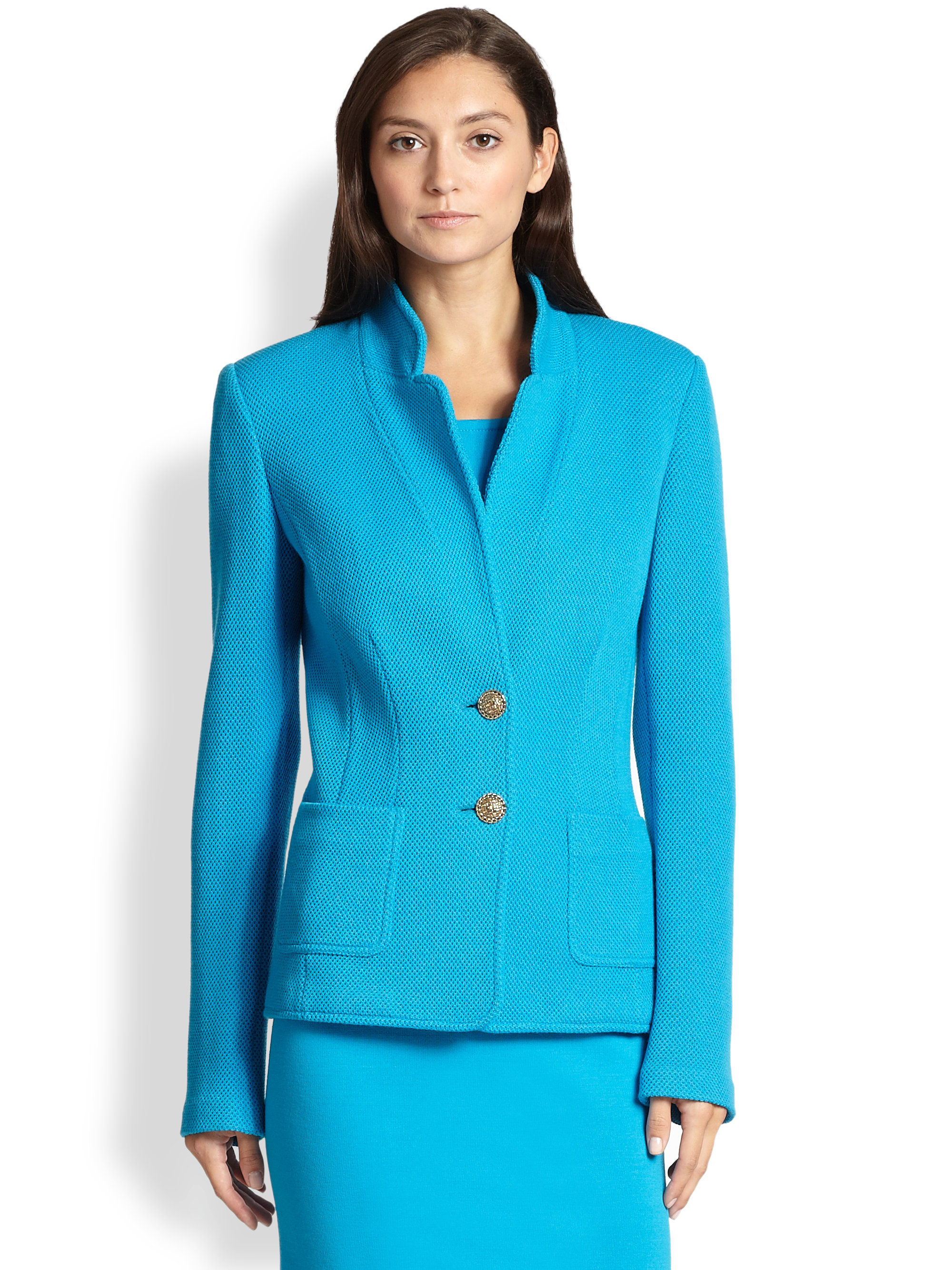 st john mod pique knit blazer in blue lyst. Black Bedroom Furniture Sets. Home Design Ideas