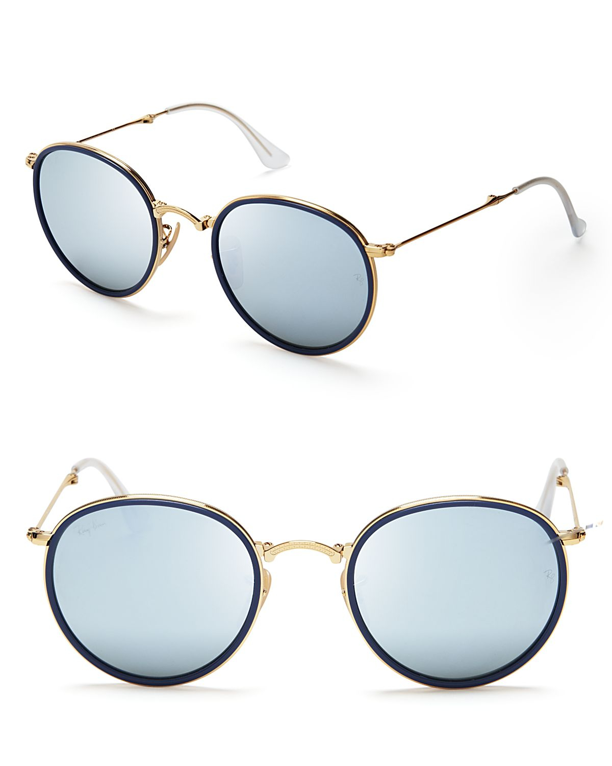 Ray ban foldable round mirrored sunglasses in gold for men for Mirror sunglasses