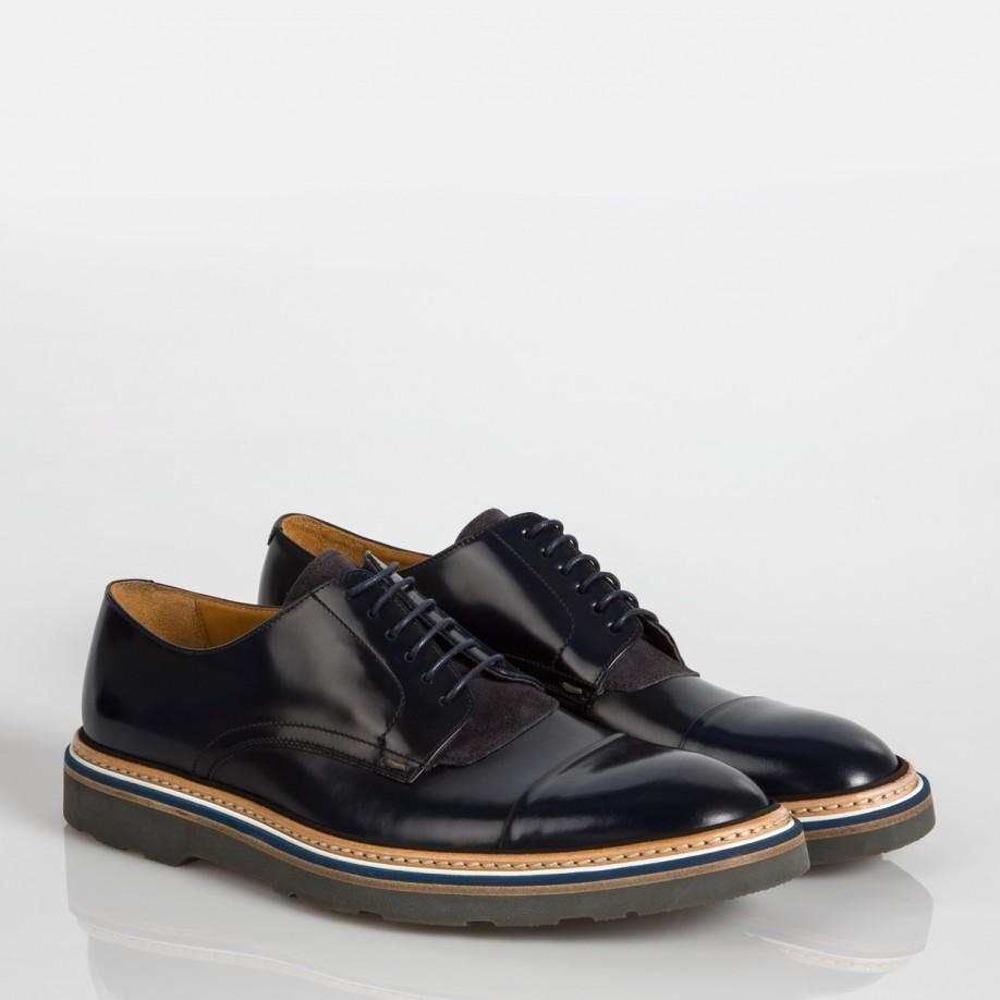 Lyst Paul Smith Men S Navy Leather Thom Shoes In Black