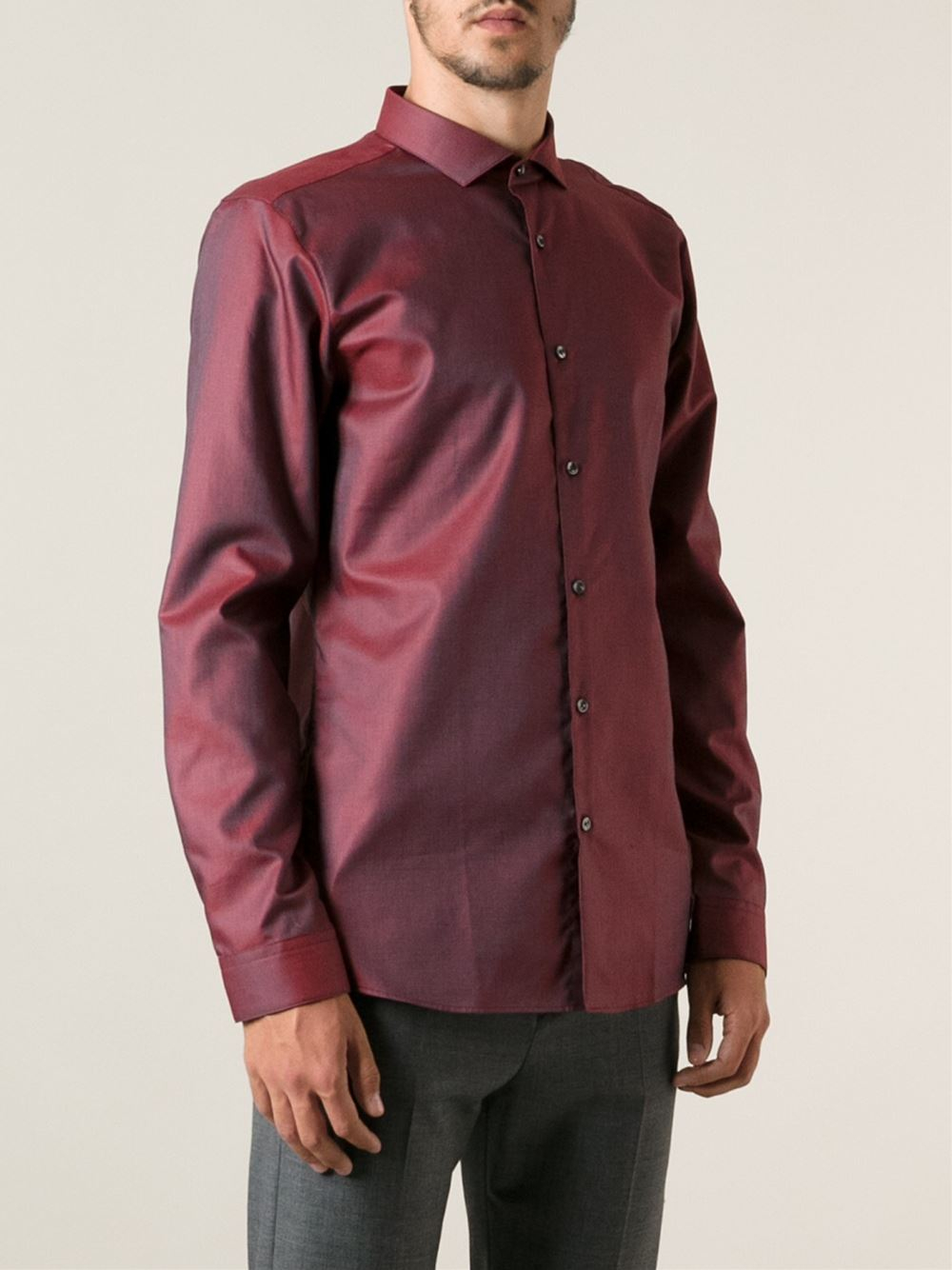 Hugo 39 enondo 39 shirt in red for men lyst for Hugo boss dress shirts