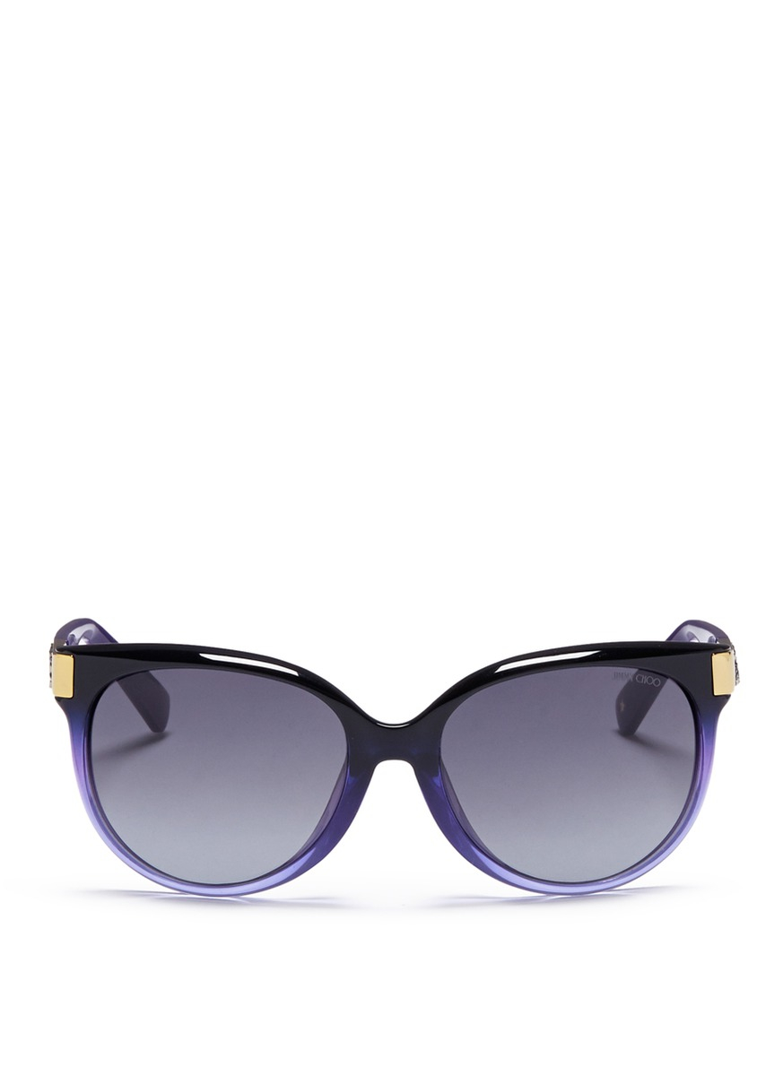 03c804a1568 Lyst - Jimmy Choo  erin  Crystal Temple Ombré Acetate Sunglasses in ...