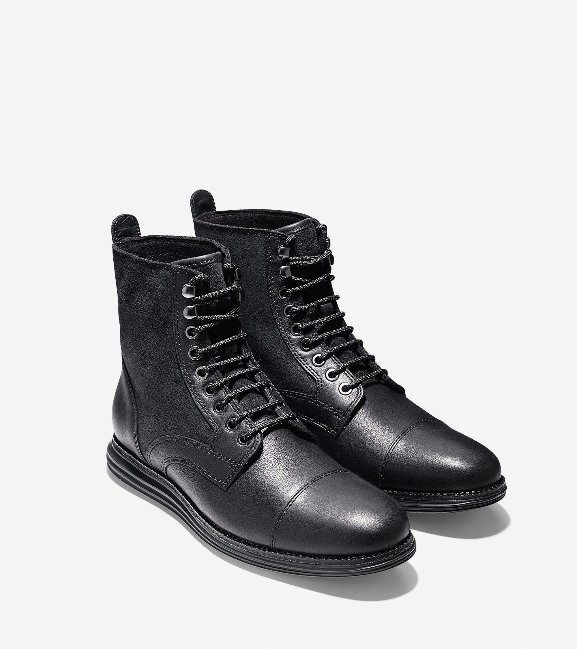 Cole haan Lunargrand Leather and Suede Boots in Black for Men | Lyst