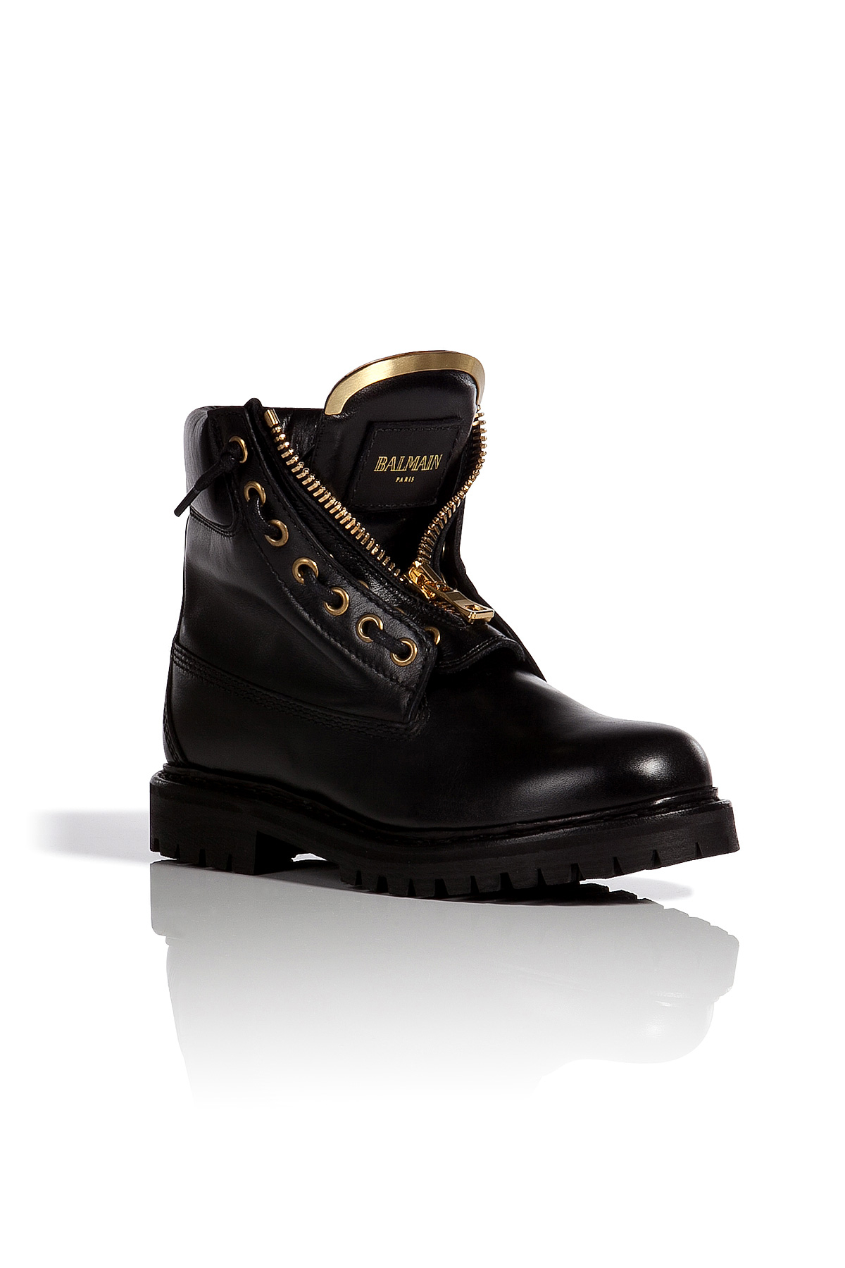 cc0ad845ef6 Balmain Leather Taiga Ranger Boots in Black - Lyst