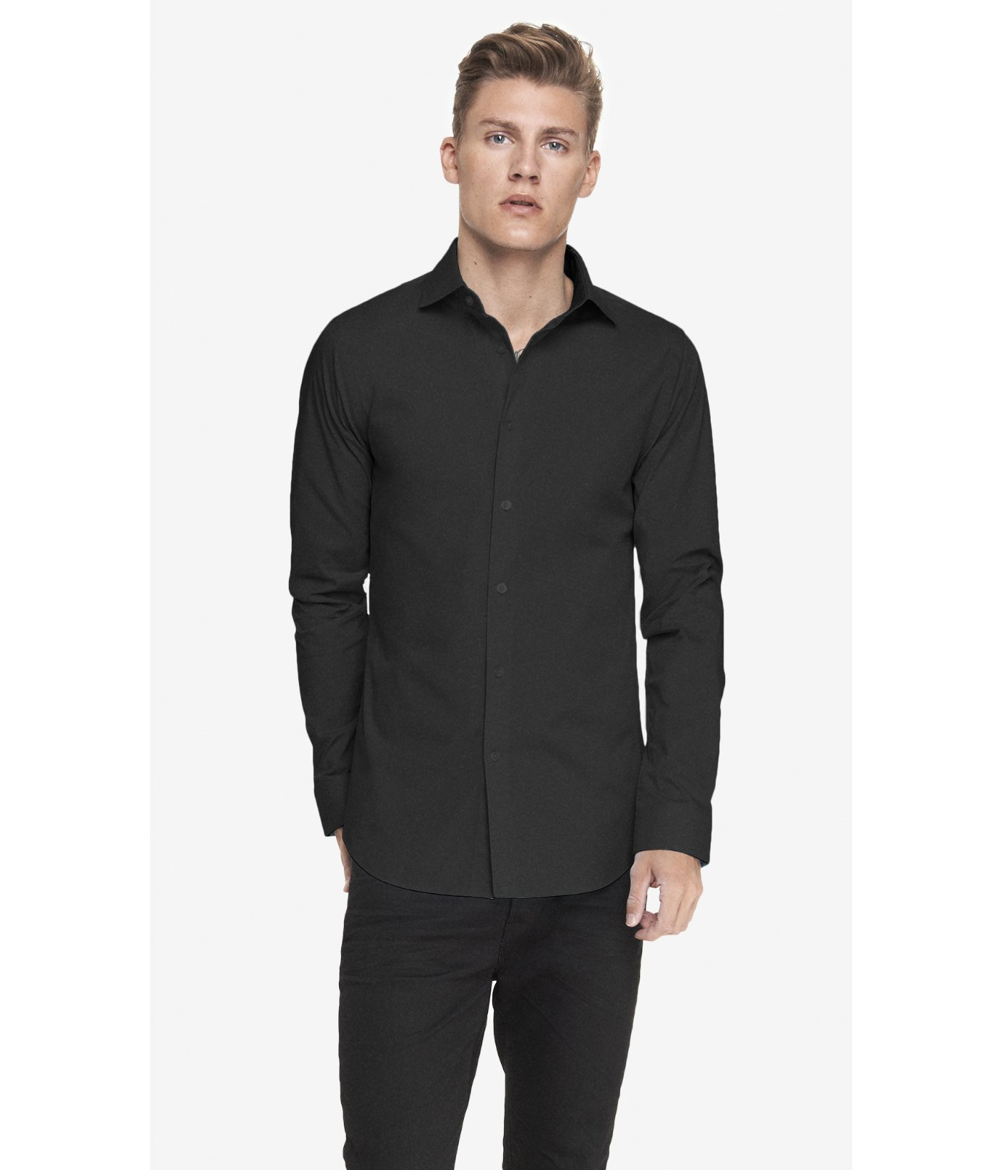 Express slim fit spread collar 1mx shirt in black for men for Spread collar slim fit dress shirts