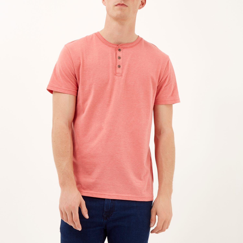 River island Coral Pink Grandad T-shirt for Men | Lyst