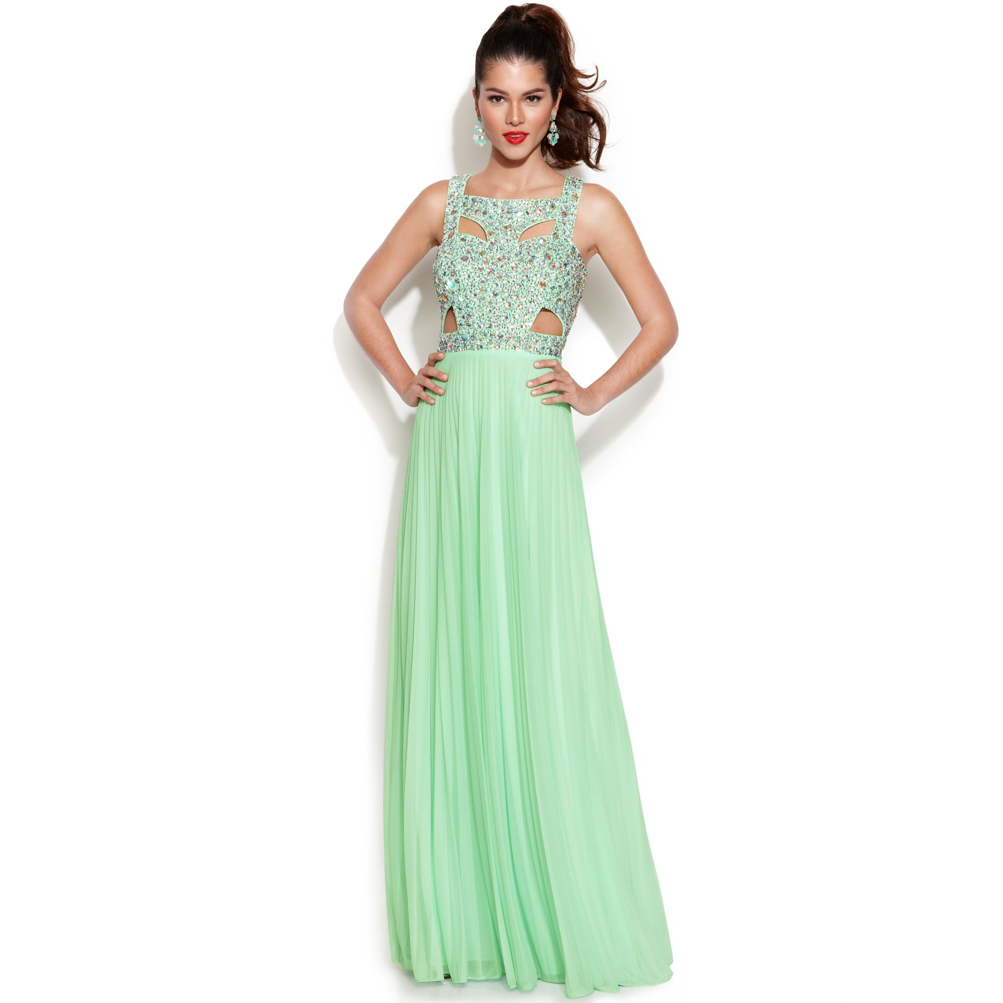 Lyst - Betsy & Adam Sleeveless Embellished Cutout Gown in Green