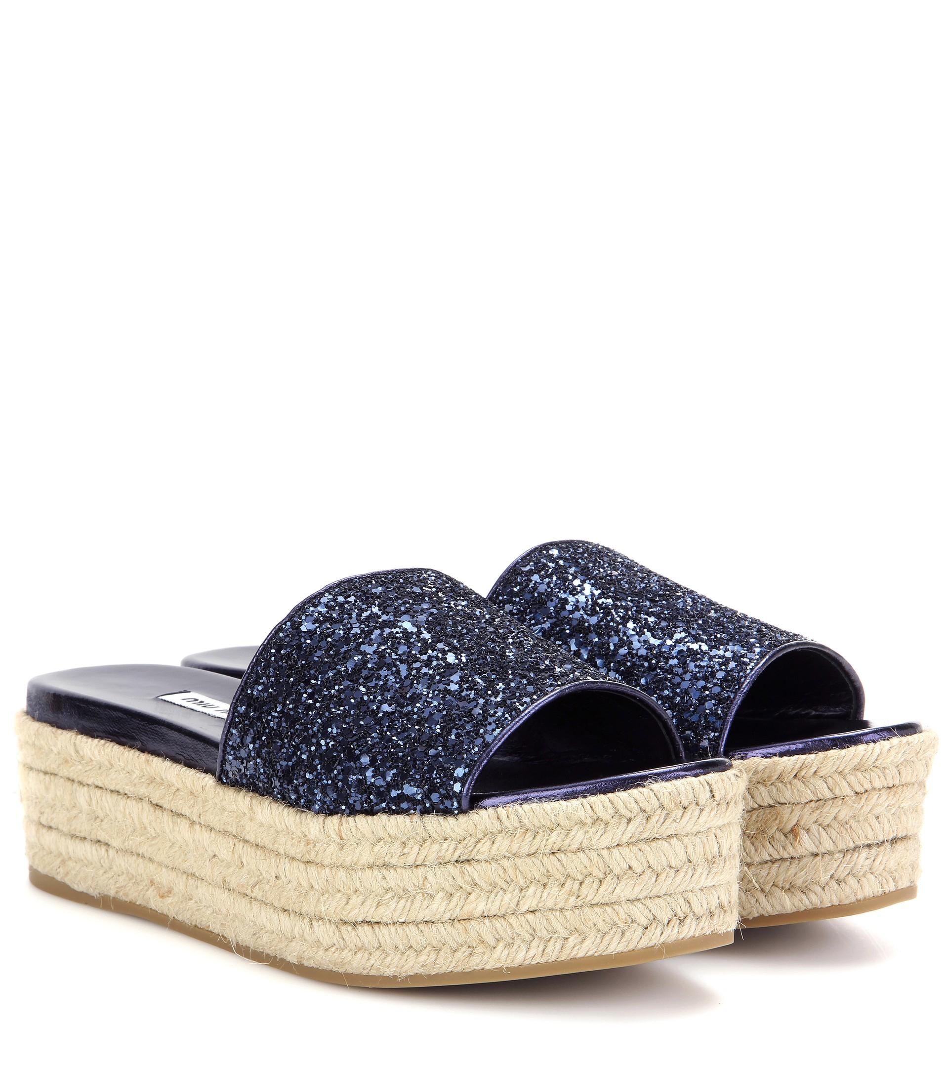 Velvet platform espadrille sandals Miu Miu ocWK5Z1Glr