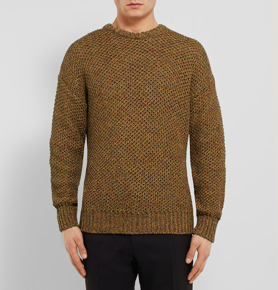 Loewe Open-Knit Cotton Sweater in Brown for Men | Lyst