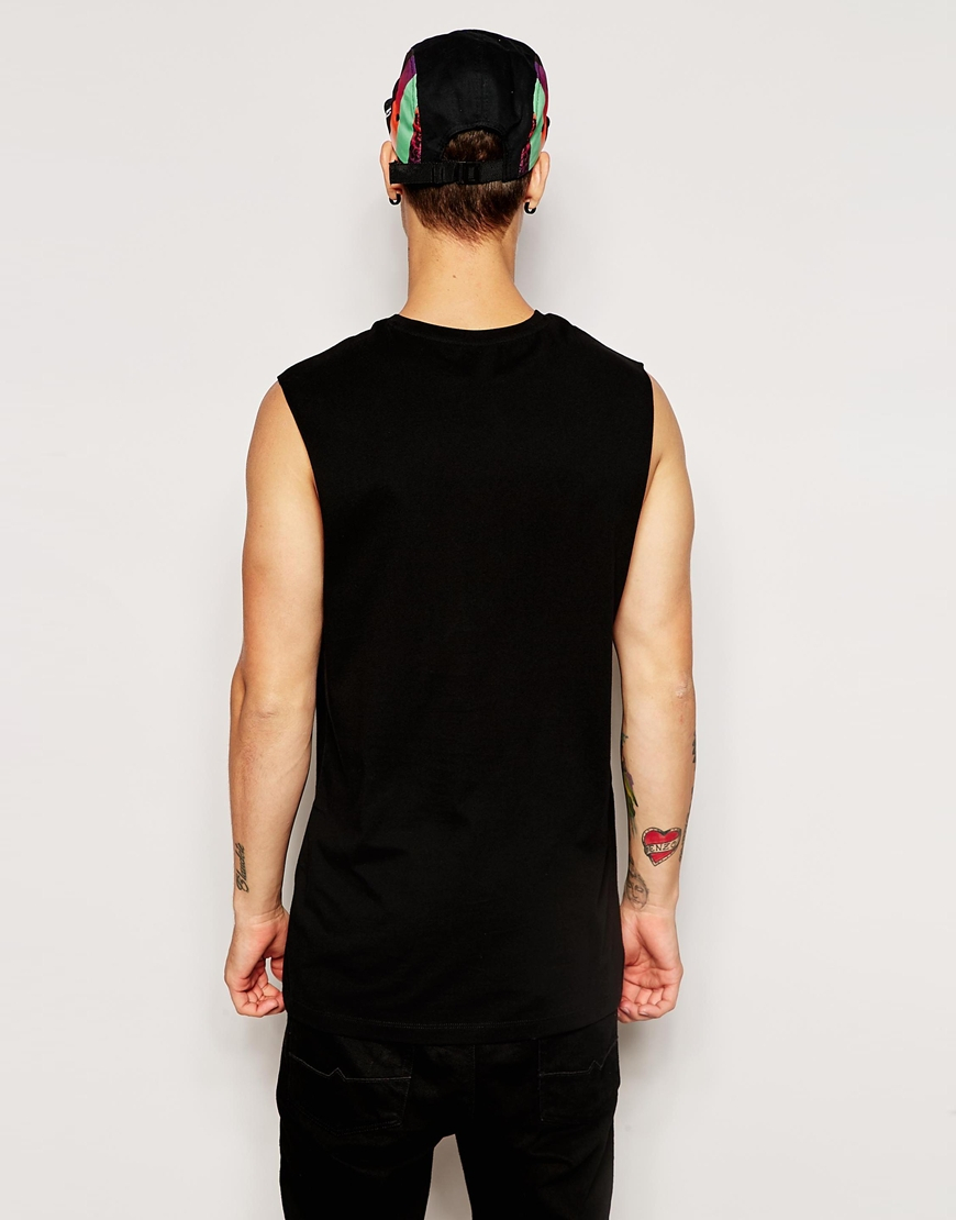 Asos Longline Sleeveless T Shirt With Photo Print In Black