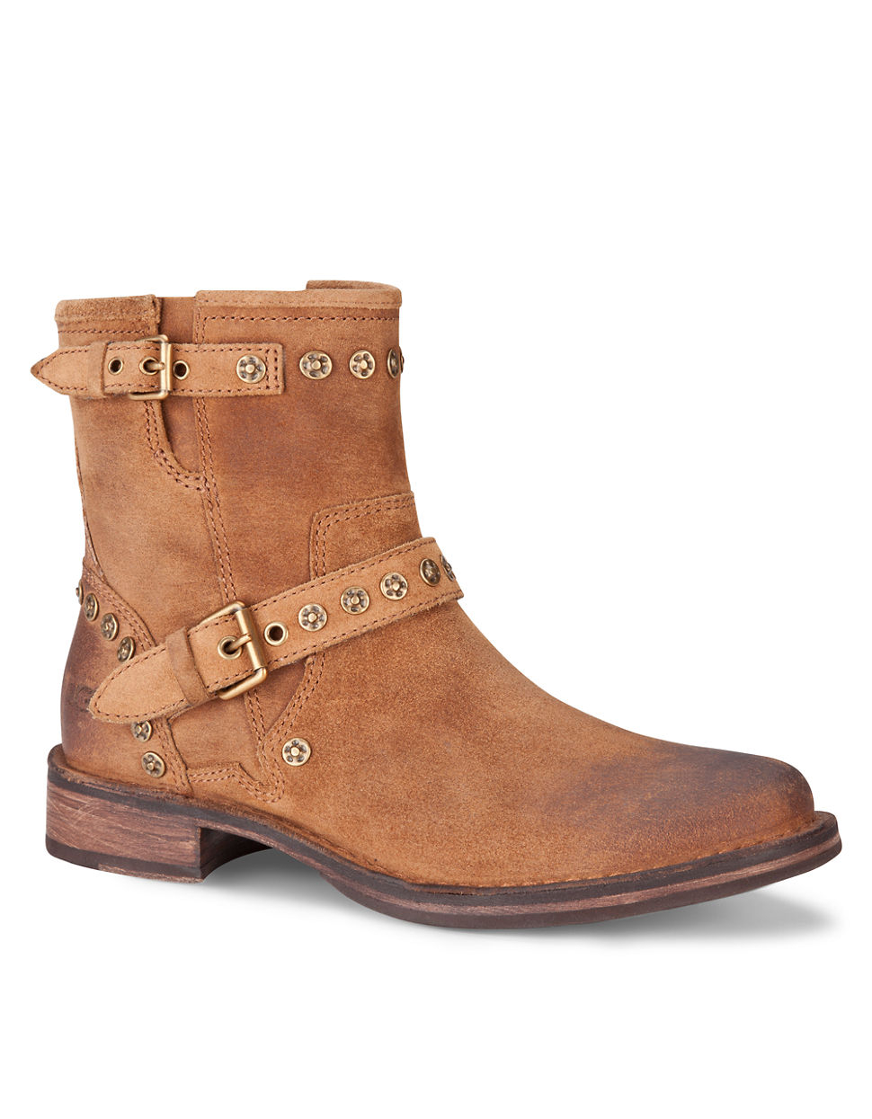 ugg studded suede ankle boots in brown lyst