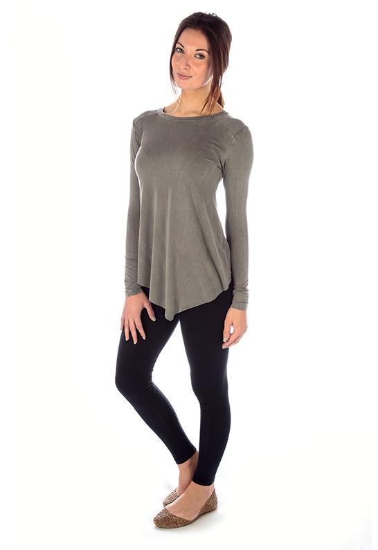 Sen collection Octavia Long Sleeve Crisscross Back Top in ...