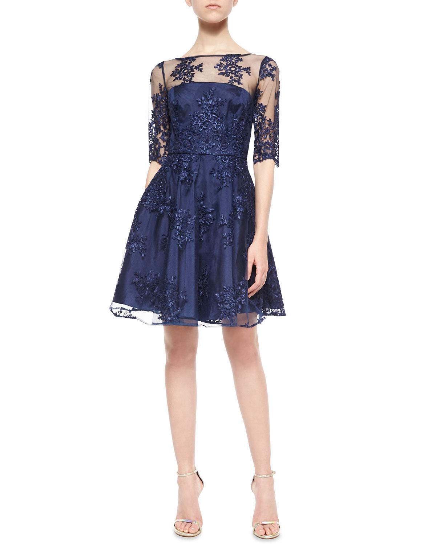 Lyst - Ml Monique Lhuillier 1/2-sleeve Lace Illusion Cocktail Dress ...