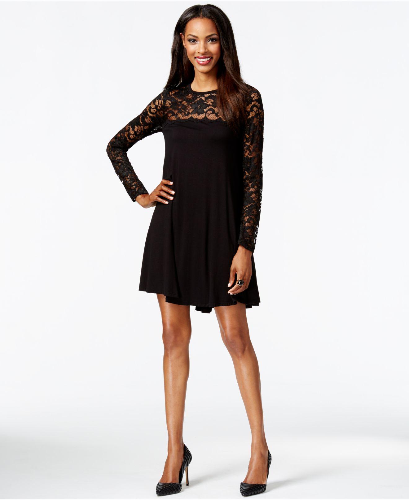 560d5d107acd2 Lyst - Karen Kane Lace Swing Dress in Black
