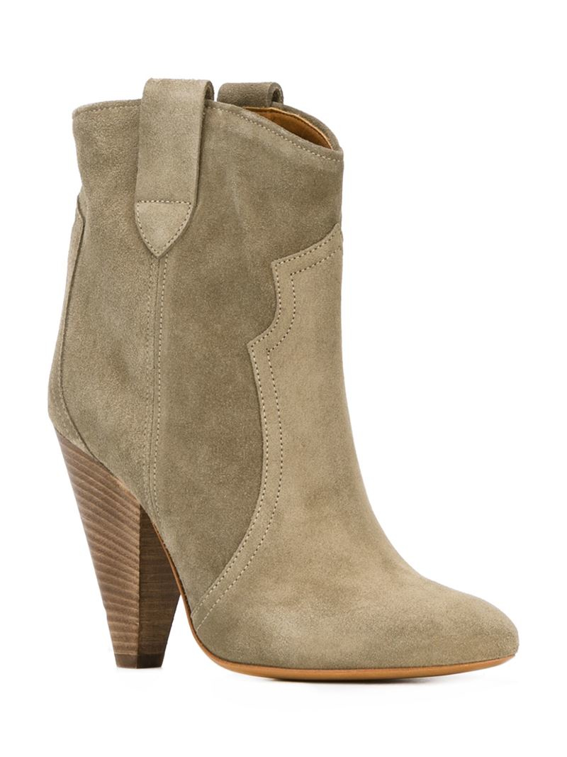 isabel marant toile 39 roxann 39 boots in gray lyst. Black Bedroom Furniture Sets. Home Design Ideas