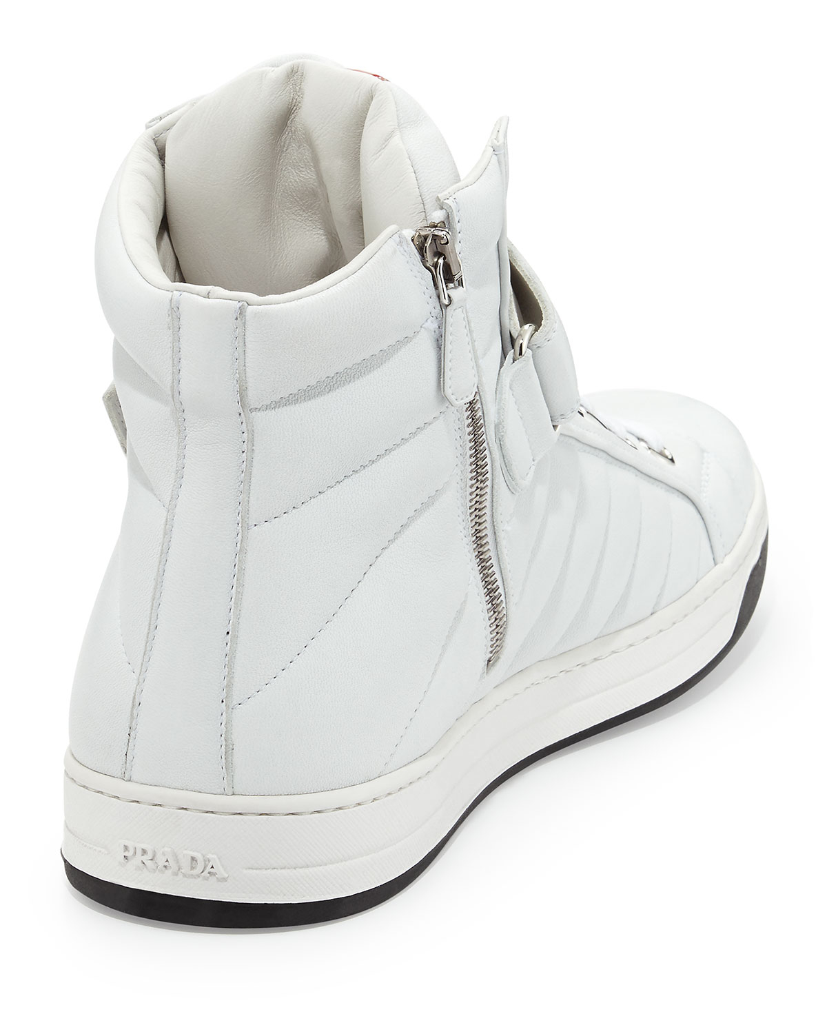 5ea4d6fc4c770 ... where to buy prada quilted napa grip strap high top sneaker in white  for men lyst