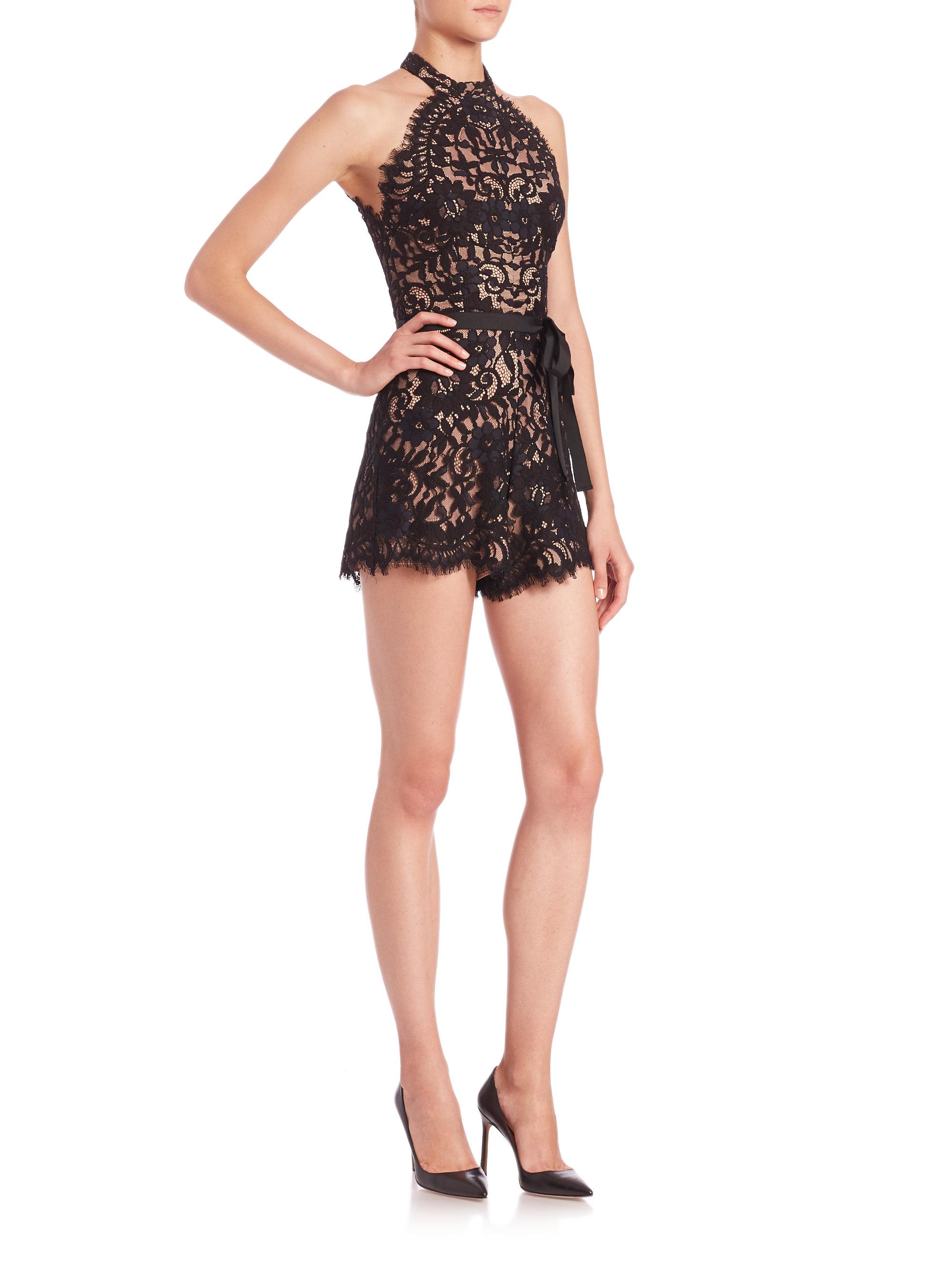 98397c82ba8 Lyst - Alexis Margot Lace Short Jumpsuit in Black