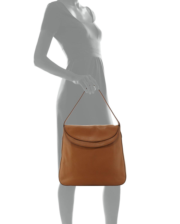 13b495a9b4dd Lyst - Prada Vitello Daino Double Flap Top Leather Hobo Bag in Brown