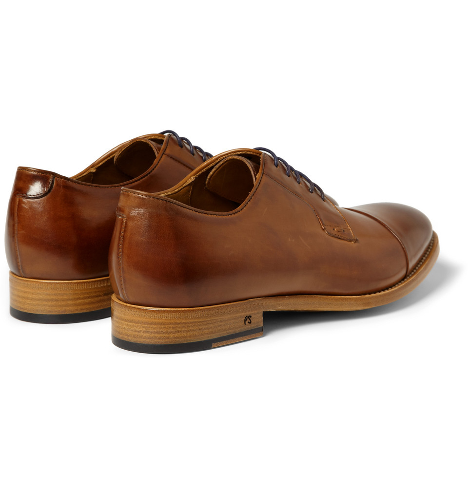 paul smith ernest burnished leather derby shoes in brown
