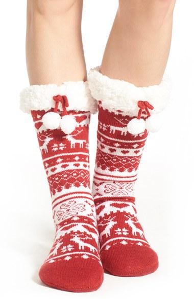 Lyst - Make + model Fair Isle Slipper Socks in Red