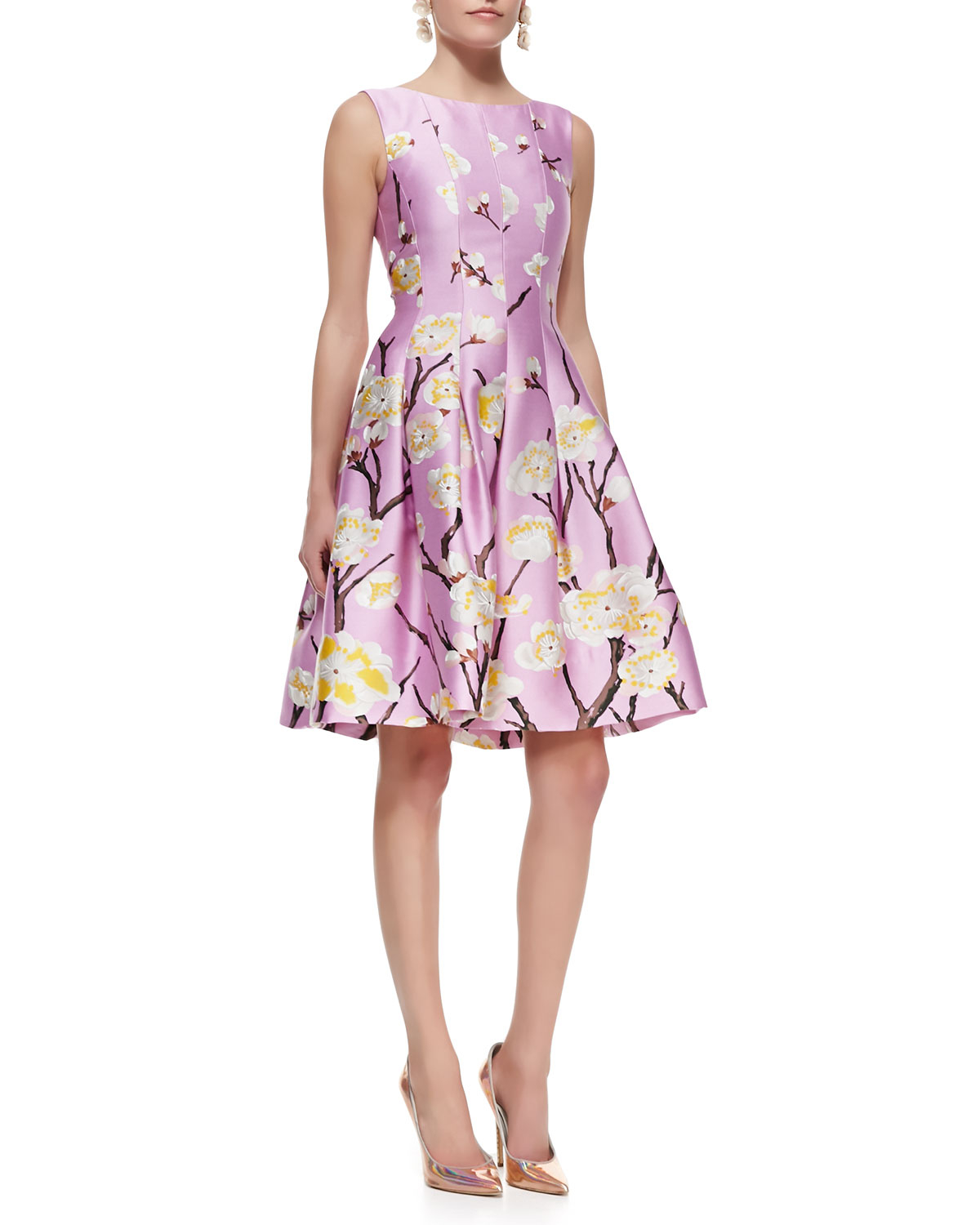 oscar de la renta sleeveless seamed aline floral dress lilac in purple lilac lyst. Black Bedroom Furniture Sets. Home Design Ideas
