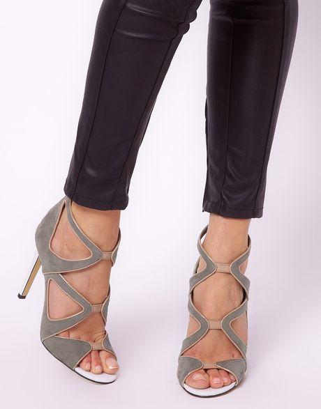 Asos Asos Hazard Heeled Sandals In Gray Grey Lyst