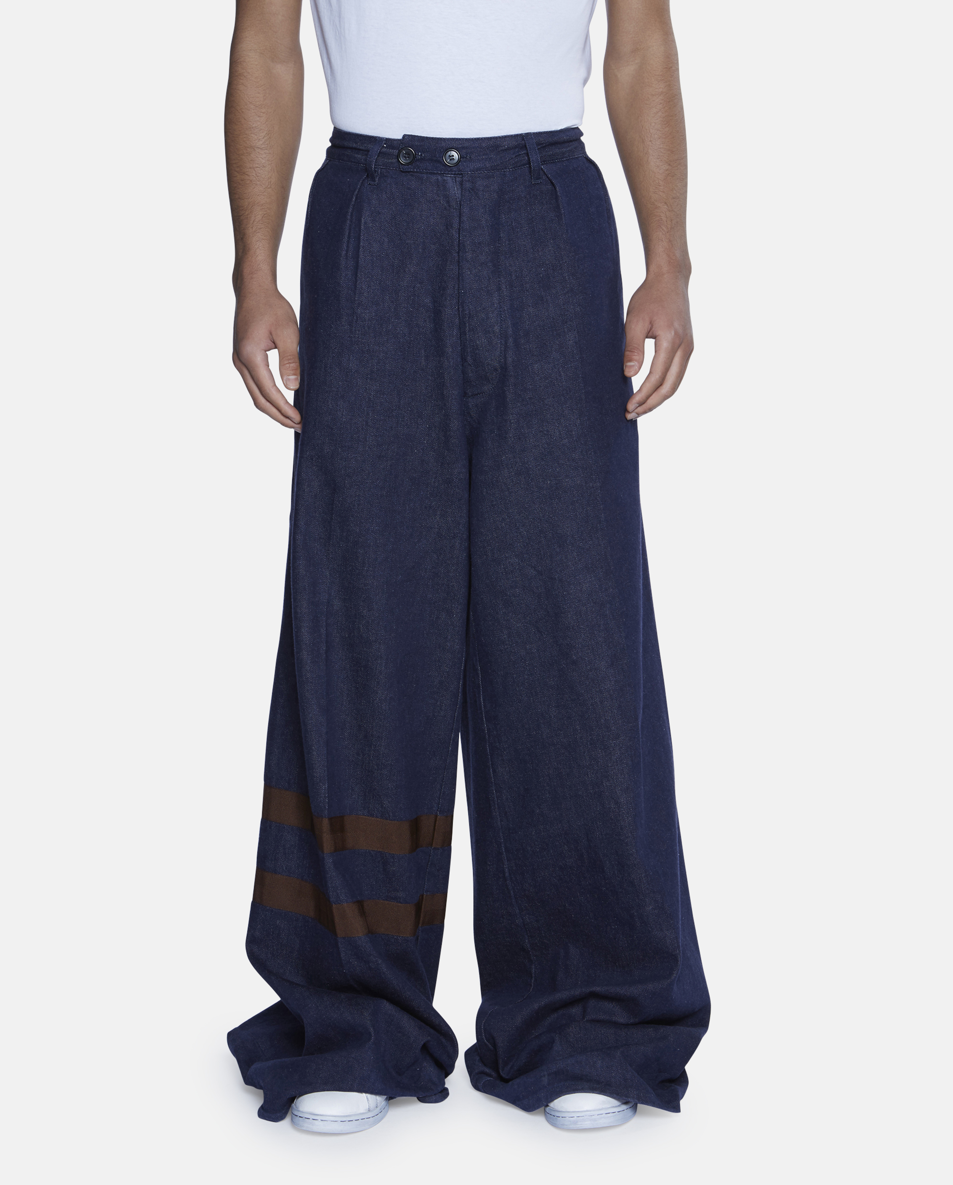Raf simons Wide Leg Denim Trousers With Two Stripes in Blue for ...