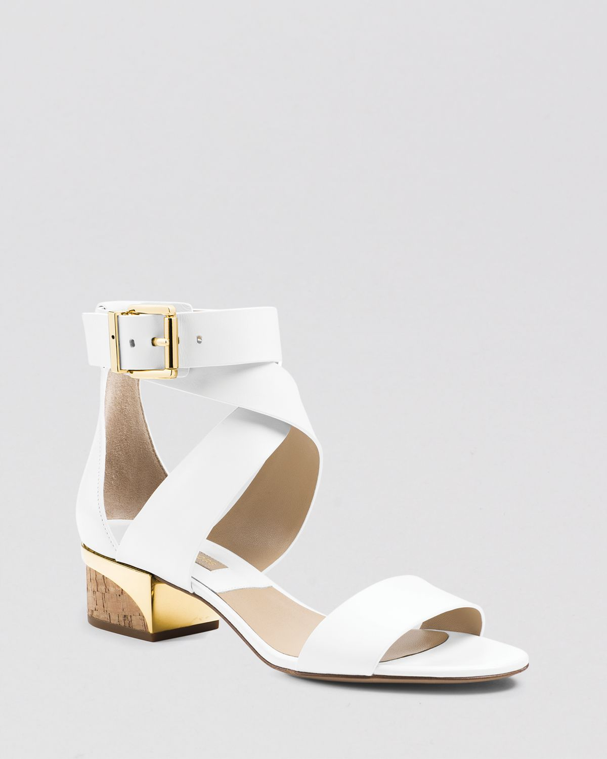 Michael kors City Sandals - Tulia Block Heel in White | Lyst