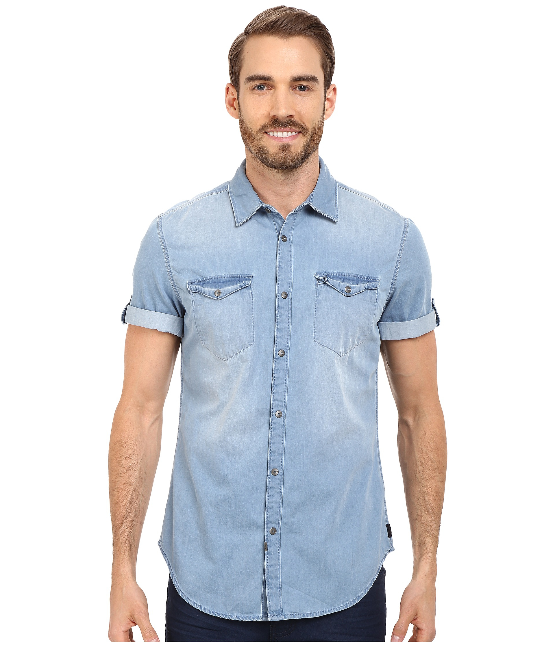short sleeve denim shirt for men custom shirt